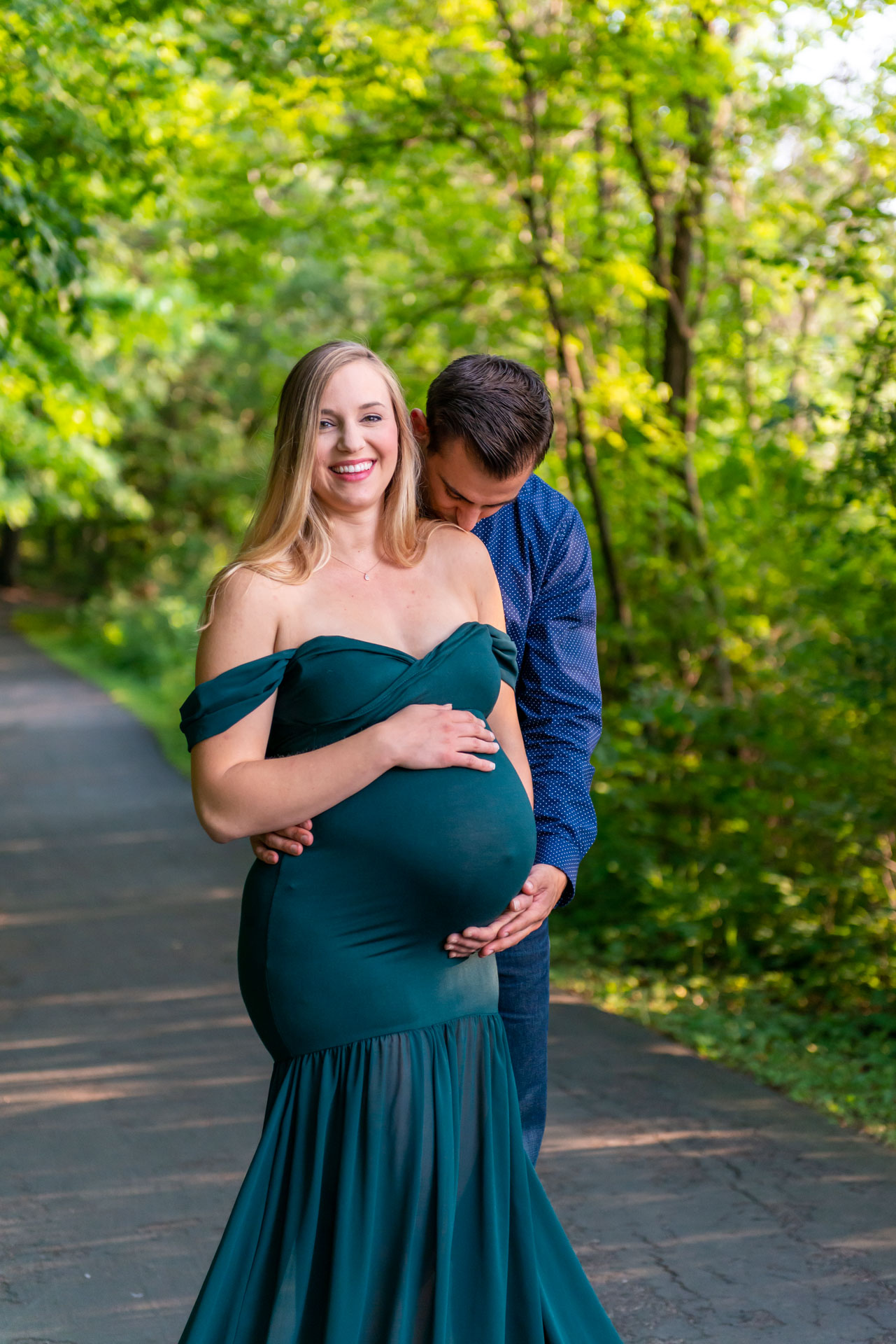 Couples maternity photo session with gown provided by Addie Lane Studios in Plymouth, MN