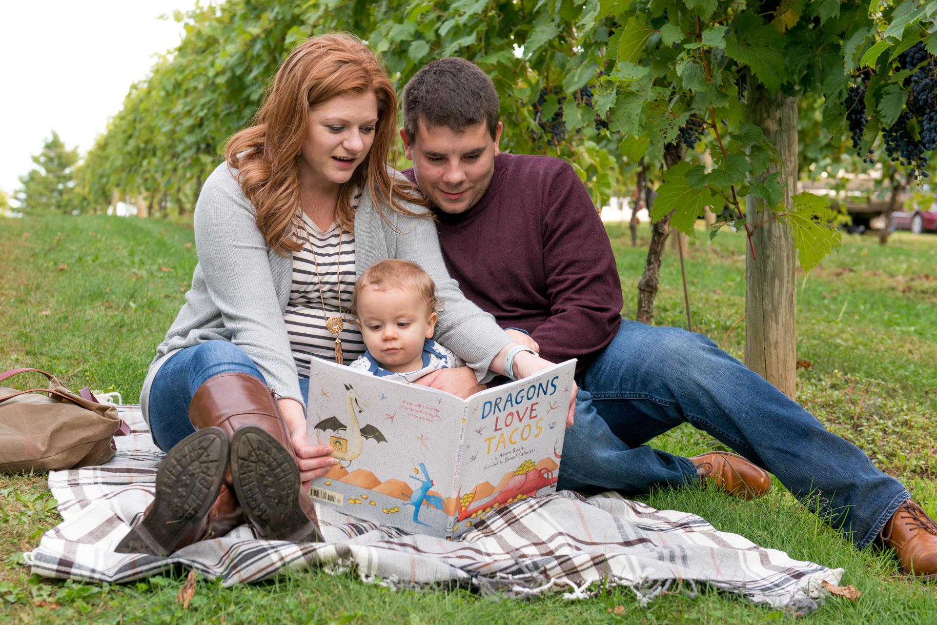 Family photography session with toddler at Aamodt's Apple Farm. Sitting in the grapevines reading a book.