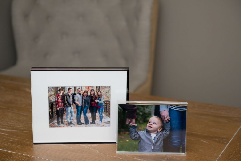 Acrylic block product contains images from family and children portrait sessions