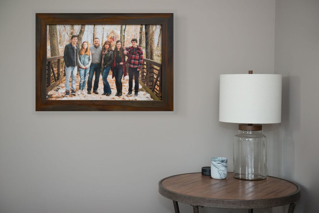 Framed print of family portrait session with teens