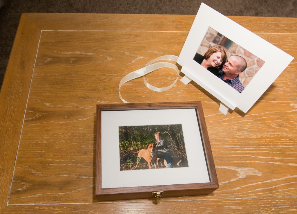 walnut keepsake folio box and matted print show some of the products available from this family photo session